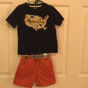 Other - Boys 2t shorts outfit. Shirt, shorts, & belt.